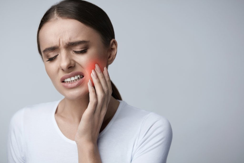 Tooth Pain. Beautiful Woman Feeling Strong Pain, Toothache